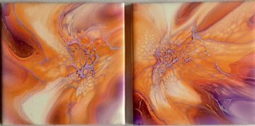 Set of 2 Hand Painted Ceramic Fantasy Coasters Orange& Purple made in UK (1)